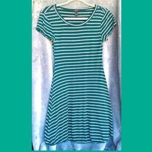 Forever 21 Green Striped Lettuce Edge Dress Skirt